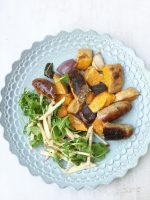 cookalong butternut, sausage, sage bake with apple lemon salsa