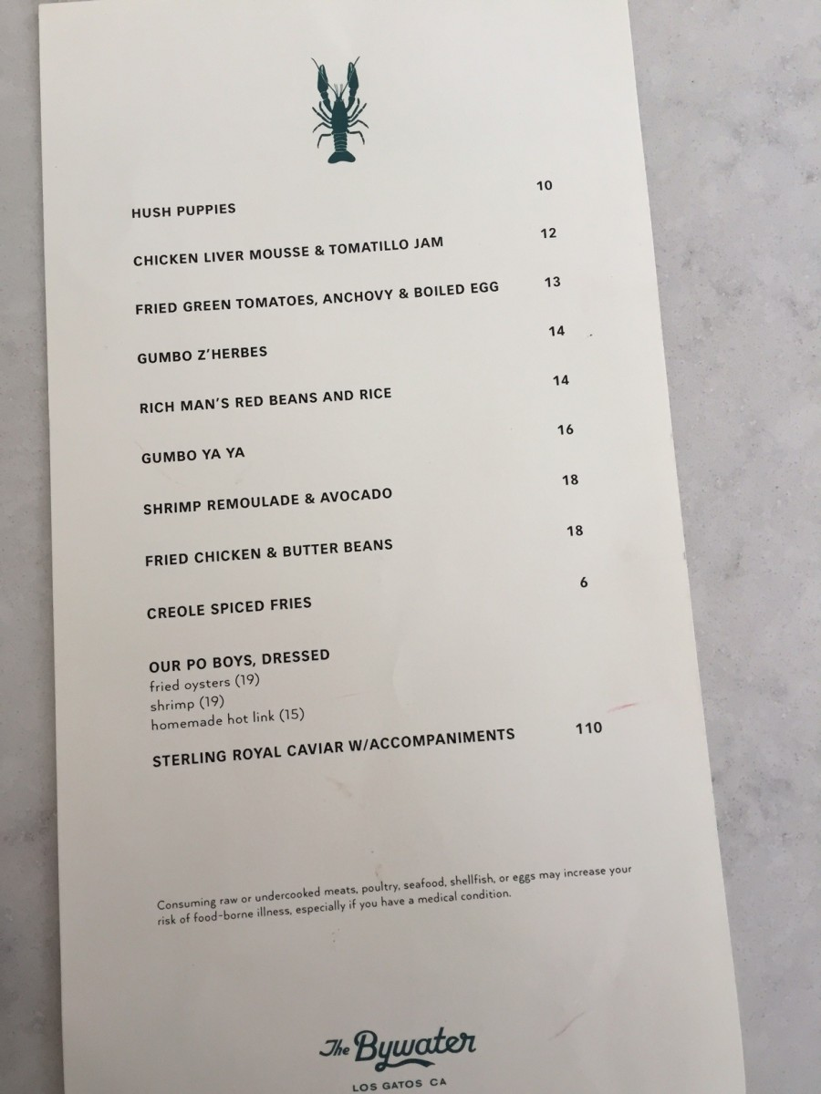 The menu at The Bywater