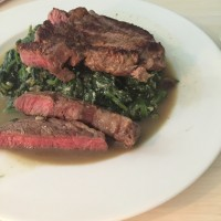 steak and spinach