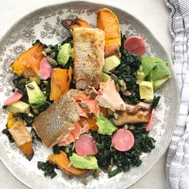 Crispy skin salmon, kale, avocado and butternut salad