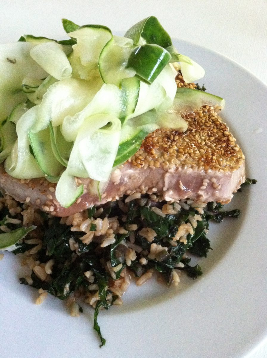 sesame wasabi crusted tuna