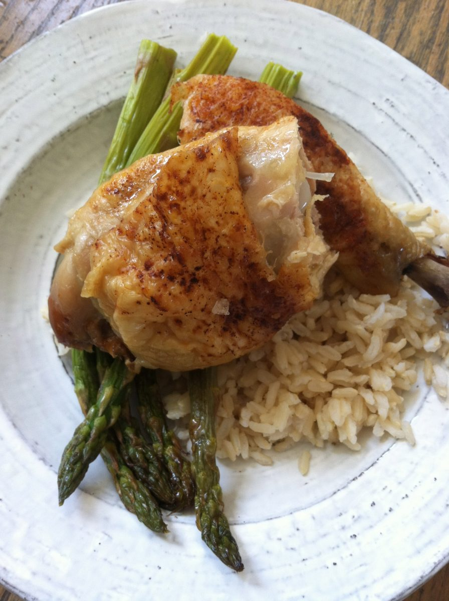 roast chicken and garlic sticky brown rice