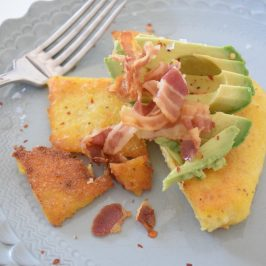pancetta polenta and avocado breakfast
