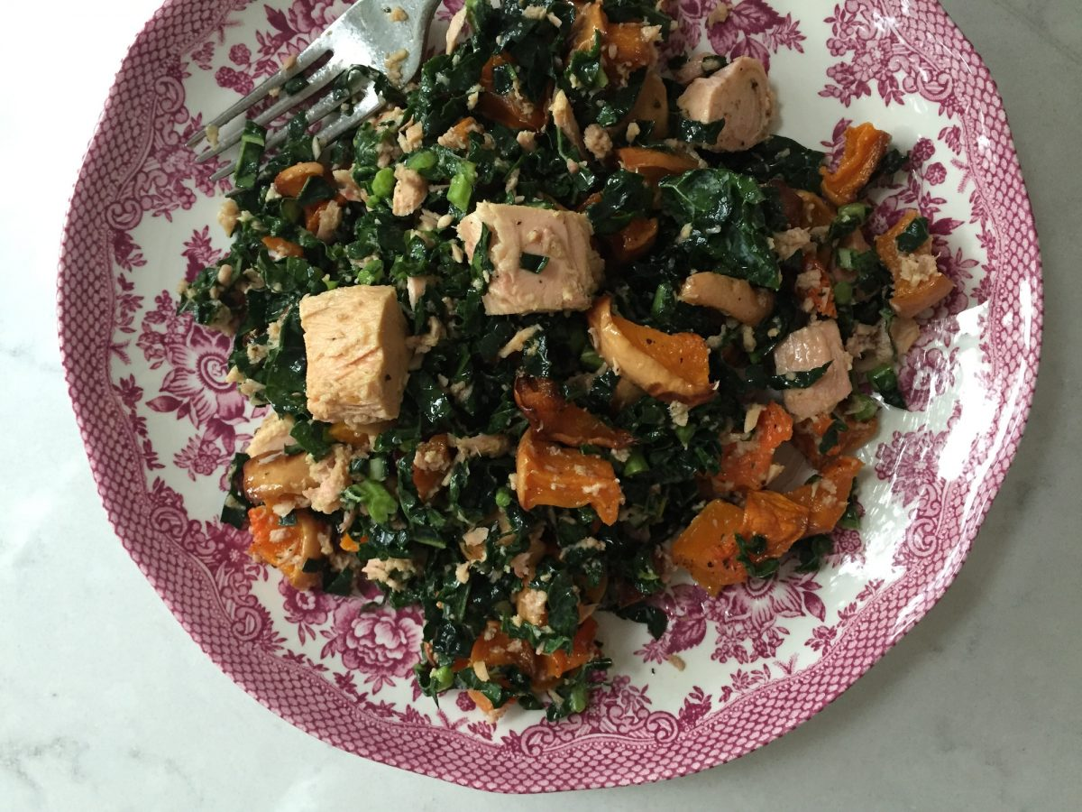 Kale, roast butternut squash and tuna salad