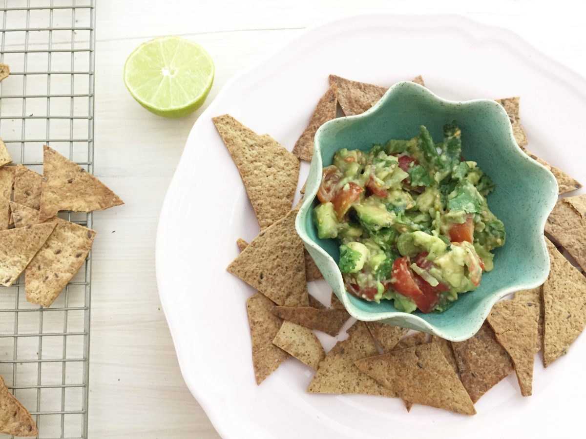 homemade tortilla chips with guacamole