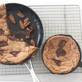 Giant chocolate chunk cookie