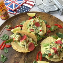coronation chicken tacos