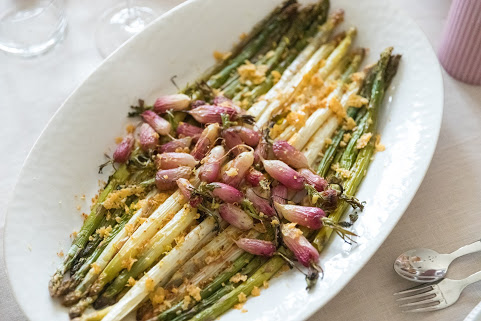 roast radish and asparagus